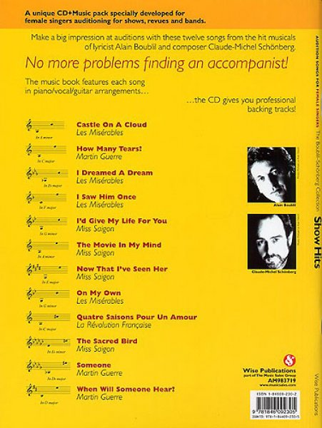 Sheet Music + Playback-CD AUDITION SONGS FOR FEMALE SINGERS:  BOUBLIL-SCHÖNBERG SHOW HITS