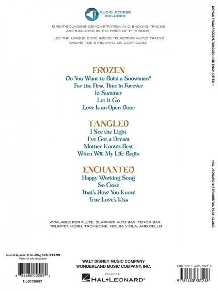 Sheet music + Download-Playbacks Songs from Frozen, Tangled and Enchanted -  Trumpet