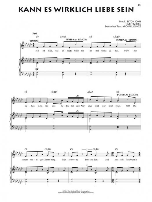 Noten Der König Der Löwen Songbuch Zum Musical In Deutscher Sprache