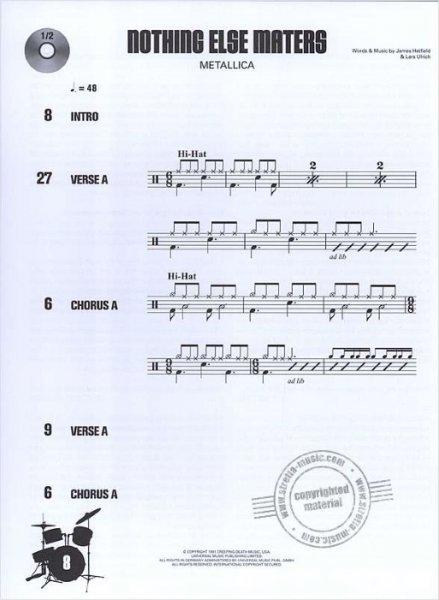 Sheet music + Playback-CD DRUM ALONG 8 - 10 HARD ROCK SONGS 2 0
